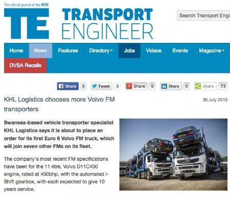 KHL Logistics chooses more Volvo FM transporters